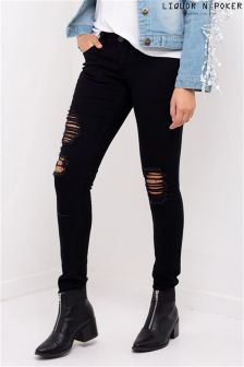 Liquor N Poker Distressed Low Rise Skinny Jeans