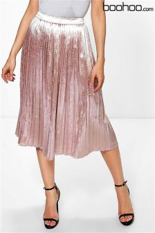 Boohoo Pleated Satin Midi Skirt