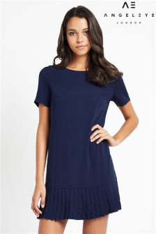 Angeleye Navy Pleated Dress