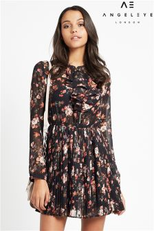Angeleye Floral Ruffle Front Dress