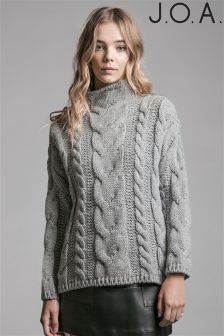 J.O.A Long Sleeve Cable Knit