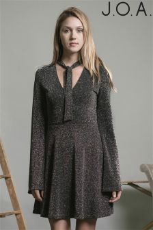 J.O.A Long Sleeve Bow Tie Knit Dress