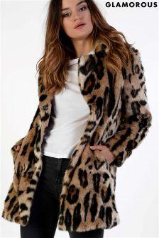 Glamorous Leopard Faux Fur Coat