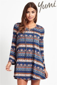 Yumi Tie Up Printed Shift Dress