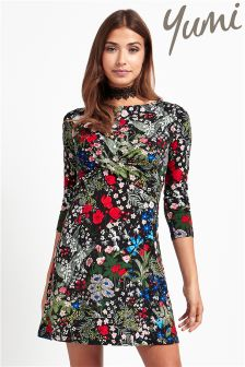 Yumi Long Sleeve Printed Jersey Dress