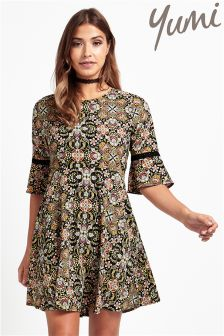 Yumi Printed Bell Sleeve Mini Dress