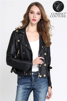 Comino Couture Textured Real Leather Biker Jacket