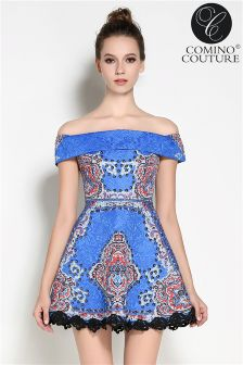 Comino Couture Bardot Skater Vintage Dress