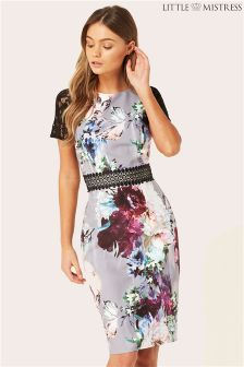 Little Mistress Lace Printed Midi Dress
