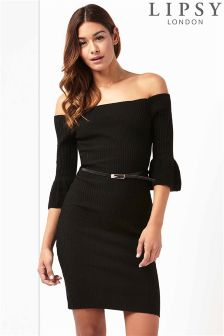 Lipsy Bell Sleeve Bardot Dress