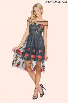 Sistaglam Embroidered Bardot Prom Dress