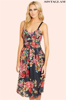 Sistaglam Floral Print Cami Strap Prom Dress