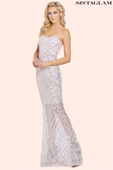 Sistaglam Sequin Bandeau Bodycon Maxi Dress
