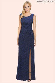 Sistaglam Glitter Lurex Knot Front Maxi Dress