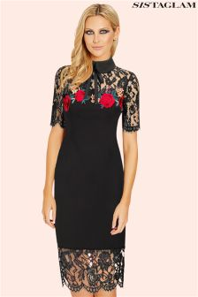 Sistaglam Collared Embroidered Trim Bodycon Dress