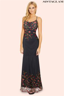 Sistaglam Embroidered Cami Strap Maxi Dress