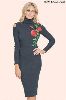 Sistaglam Roll Neck Trimmed Bodycon Dress