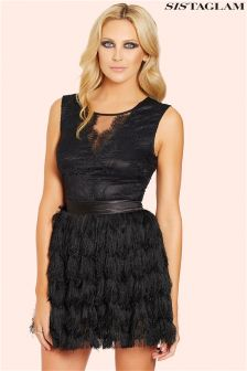 Sistaglam Lace Top Fringed Mini Dress