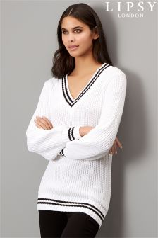 Lipsy Tipped Deep V Jumper