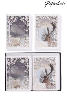 Paperchase Stag And Bear Laser-Cut Christmas Cards - Box Of 8