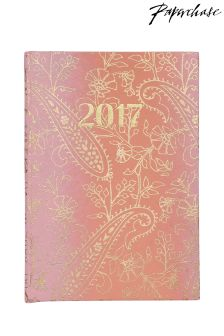Paperchase Handmade Line Floral A6 Casebound 2017 Diary