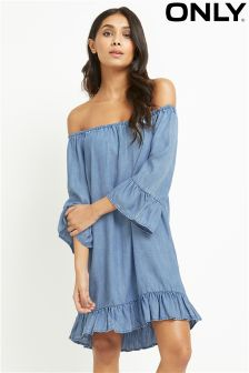 Only Denim Ruffle Hem Dress
