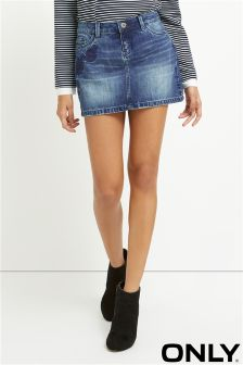 Only Medium Denim Embroidered Wash Skirt