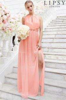 Lipsy Sienna Apron Neck Floral Embellished Maxi Dress