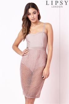 Lipsy Mesh Overlay Dress