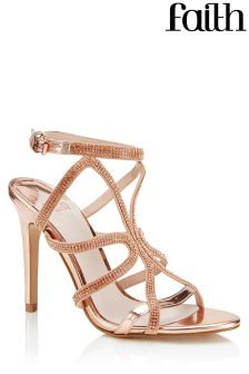 Faith Metallic Caged Diamanté Heeled Sandals