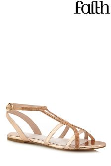 Faith Caged Diamanté Flat Sandals