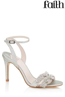 Faith Embellished Swirl Trim Heeled Sandals