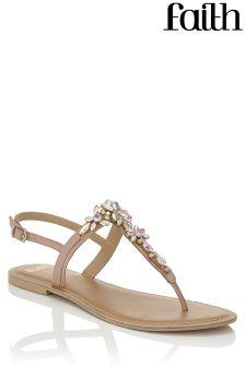 Faith Jewelled Flower Flat Sandals