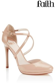 Faith Patent Cross Over Court Shoes