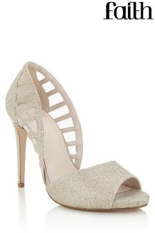 Faith Caged Glitter Peep Toe Heels
