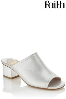 Faith Metalic Heel Mules