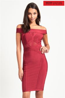 Wow Couture Off Shoulder Mesh Bandage Dress