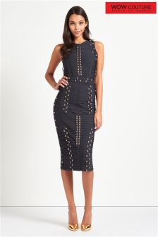 Wow Couture Metal Trim Ladder Strappy Bandage Dress