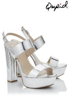Qupid Metalic Heel Platform Sandal