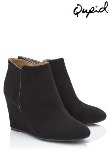 Qupid Suedette Wedge Ankle Boots