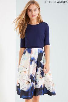 Little Mistress Top And Printed Skirt Midi Dress