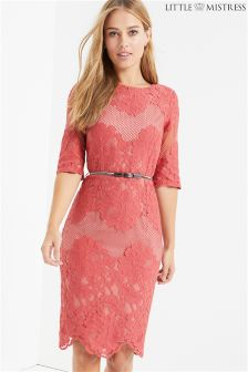 Little Mistress Belted Lace Midid Dress