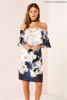 Little Mistress Printed Bardot Shift Dress