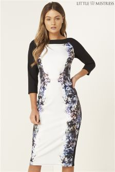 Little Mistress Smoke Printed Bardot Dress