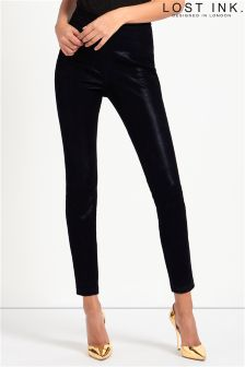 Lost Ink High Waisted Skinny PU Trousers