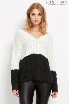 Lost Ink Colour Block V Neck Jumper
