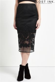 Lost Ink Mesh Applique Pencil Skirt