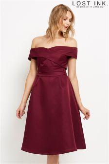 Lost Ink Twist Bardot Dress