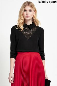 Fashion Union Lace Insert Blouse