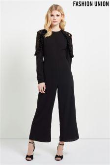 Fashion Union Lace Insert Cold Shoulder Jumpsuit